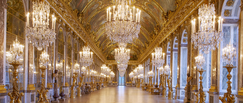 02 Versailles : Hall of Mirrors - The Hall of Mirrors, erected to the glory of Louis XIV and now the chief masterpiece of Versailles